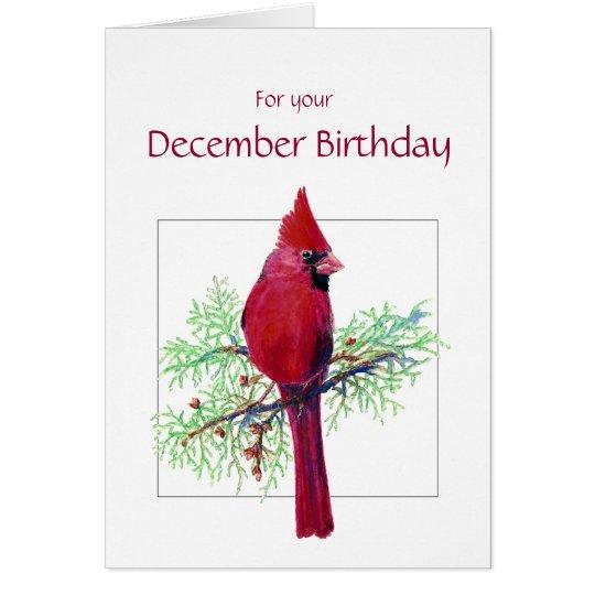 Tarjeta Pájaro cardinal del cumpleaños de diciembre,