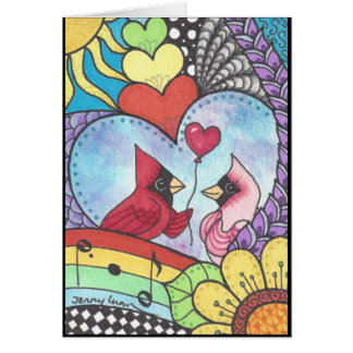 Tarjeta Pájaro cardinal en arte del amor