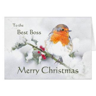 Tarjeta Pájaro de Boss del petirrojo inglés de las Felices