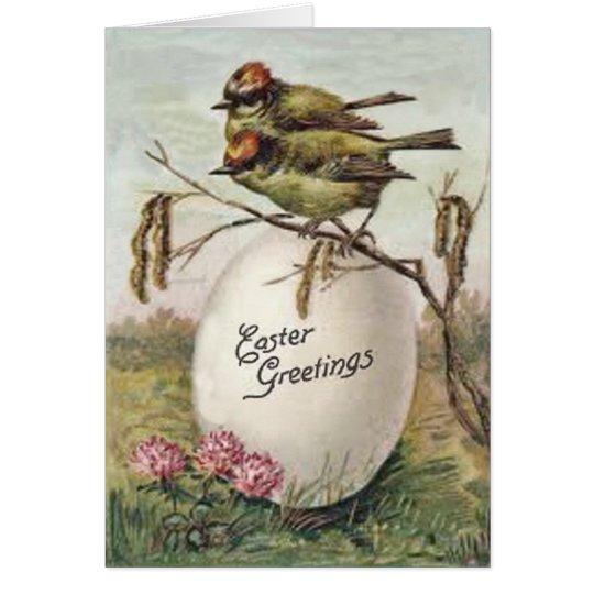 Tarjeta Pájaro de la flor del huevo de Pascua