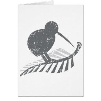Tarjeta pájaro de plata lindo del kiwi y helecho de plata