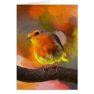 Tarjeta Pájaro del petirrojo en rama en el retrato del