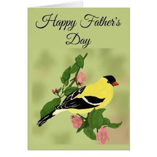 Tarjeta Pájaro feliz del Goldfinch del día de padre en
