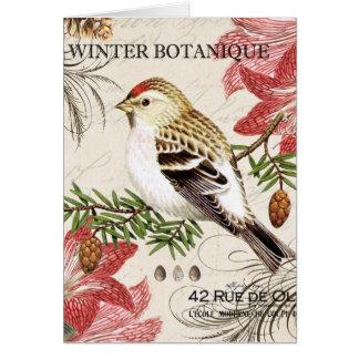Tarjeta pájaro francés del invierno del vintage moderno