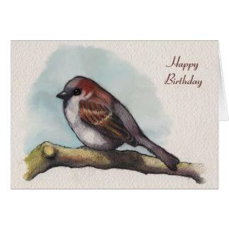 Tarjeta Pájaro, gorrión: Pintura de la acuarela,