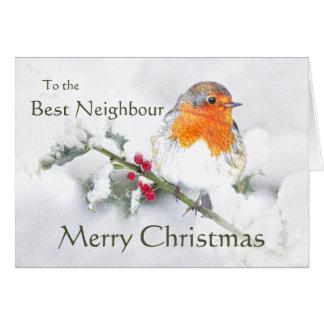 Tarjeta Pájaro vecino del petirrojo inglés de las Felices
