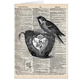 Tarjeta Pájaro y taza de té
