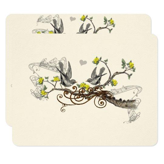 Tarjeta Pájaros amarillos y grises del amor del vintage