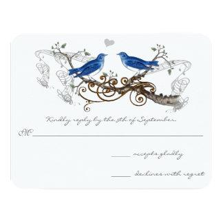 Tarjeta Pájaros del amor del vintage del azul real que