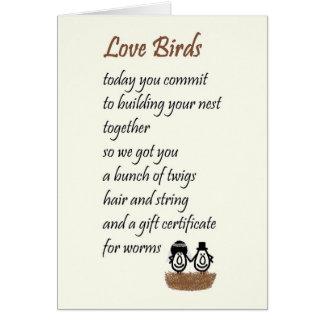 Tarjeta Pájaros del amor - un poema divertido del boda