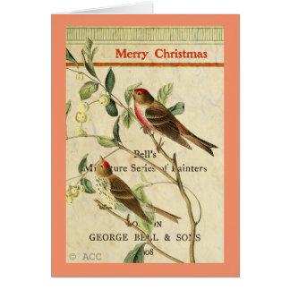 Tarjeta Pájaros rojos del vintage/Felices Navidad