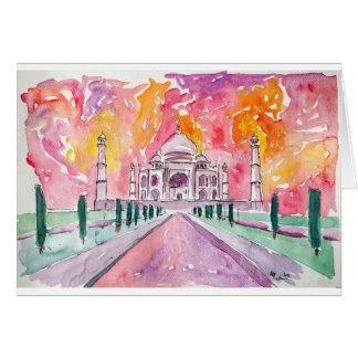 Tarjeta Palacio de la India en la puesta del sol