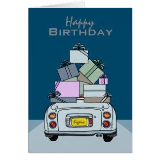 Tarjeta pálida del feliz cumpleaños de Nissan