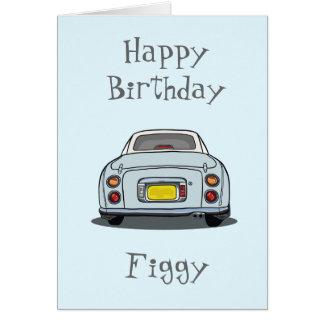 Tarjeta pálida del feliz cumpleaños del coche de