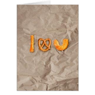 Tarjeta Palillos del queso y corazón del pretzel te amo