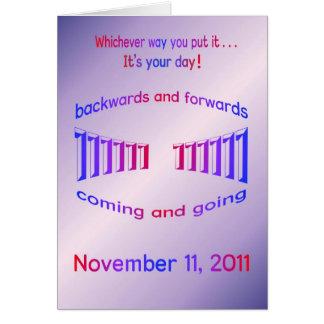 Tarjeta Palindrome del feliz cumpleaños 11-11-11