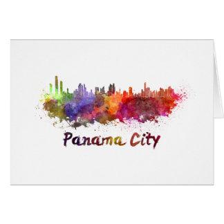 Tarjeta Panama City skyline in watercolor