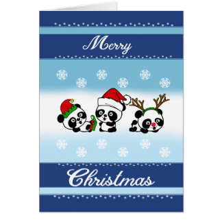 Tarjeta Pandas de las Felices Navidad