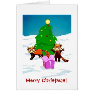 Tarjeta Pandas rojas de las Felices Navidad