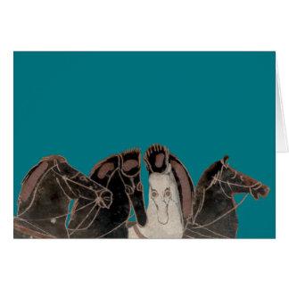 Tarjeta Panoplia - caballos del carro del griego clásico