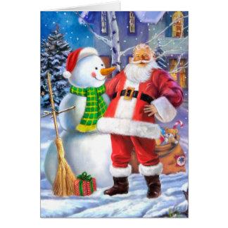 Tarjeta Papá Noel con el muñeco de nieve