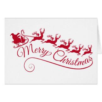 Tarjeta Papá Noel con su trineo y reno
