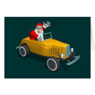Tarjeta Papá Noel en coche de carreras amarillo