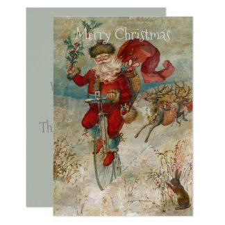 Tarjeta Papá Noel en una bici