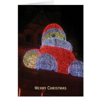 Tarjeta Papá Noel gigante, mercado del navidad, Manchester