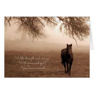 Tarjeta para el caballo sentimental del superviviente del
