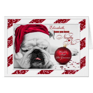 Tarjeta para el dogo del navidad del Groomer del perro