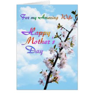 Tarjeta Para el mi día de madre feliz de la esposa