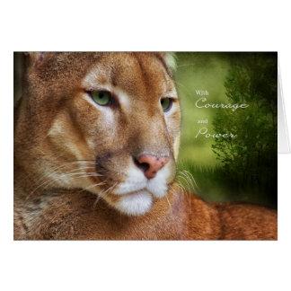 Tarjeta para el valor y el poder del león de montaña del