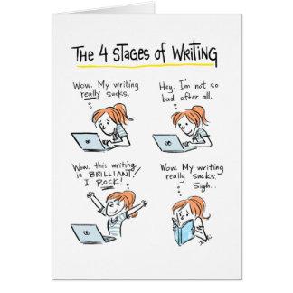 Tarjeta para los escritores: Cuatro etapas de