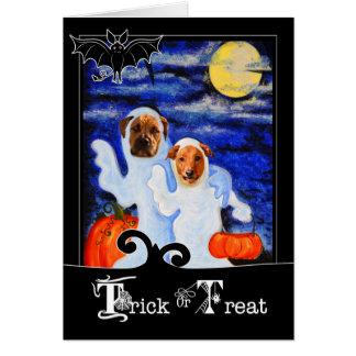 Tarjeta para los perros divertidos del fantasma de