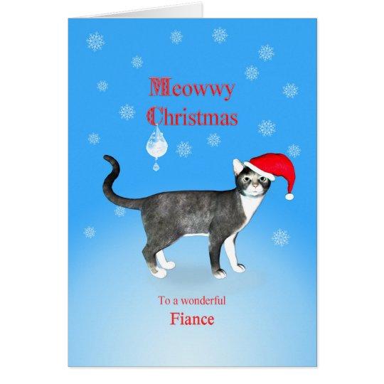 Tarjeta Para un prometido, gato del navidad de Meowwy