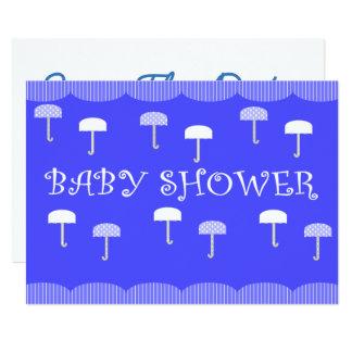 Tarjeta Paraguas de la fiesta de bienvenida al bebé azules
