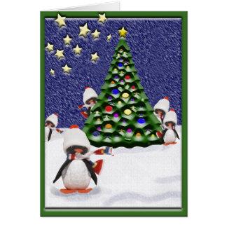 Tarjeta Paraíso del navidad del pingüino