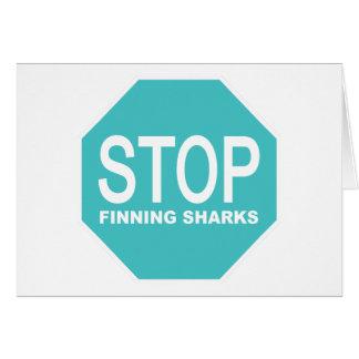 Tarjeta Pare la muestra de los tiburones de Finning