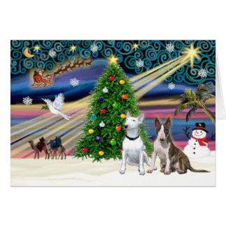 Tarjeta Pares de Navidad Magia-Bull Terrier