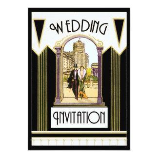 Tarjeta Pares formales del boda del art déco del vintage