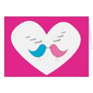 Tarjeta Pares muy dulces de pájaros: rosa y azul