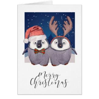 Tarjeta Pares Santa lindo del pingüino del navidad y reno