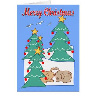 Tarjeta Pares y árboles de navidad lindos del conejo de