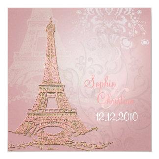 Tarjeta París rosada Eiffel + remolinos que casan