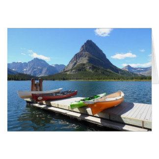 Tarjeta Parque Nacional Glacier de los barcos del lago