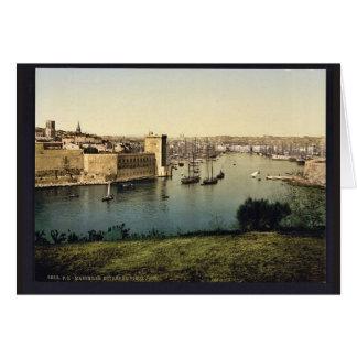 Tarjeta Parte del puerto viejo, obra clásica de Marsella,