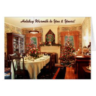 Tarjeta pasada de moda de la cena de navidad