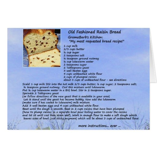 Tarjeta pasada de moda de la receta del pan de pas