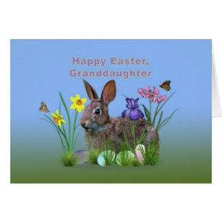 Tarjeta Pascua, nieta, conejito, huevos, flores